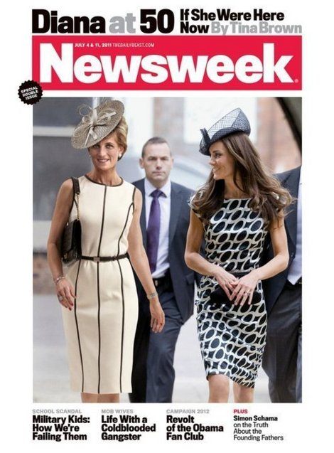 cover of newsweek with kate middleton and a photoshopped diana spencer