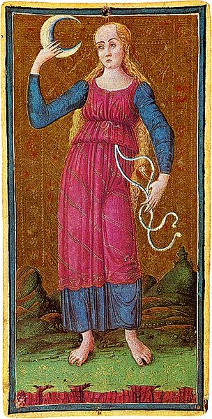 Moon (tarot) card from the Visconti-Sforza Tarot deck. C. 1450
