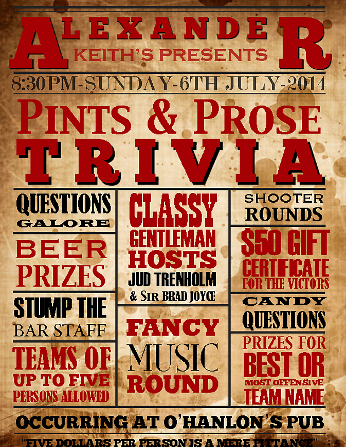 Pints and prose trivia