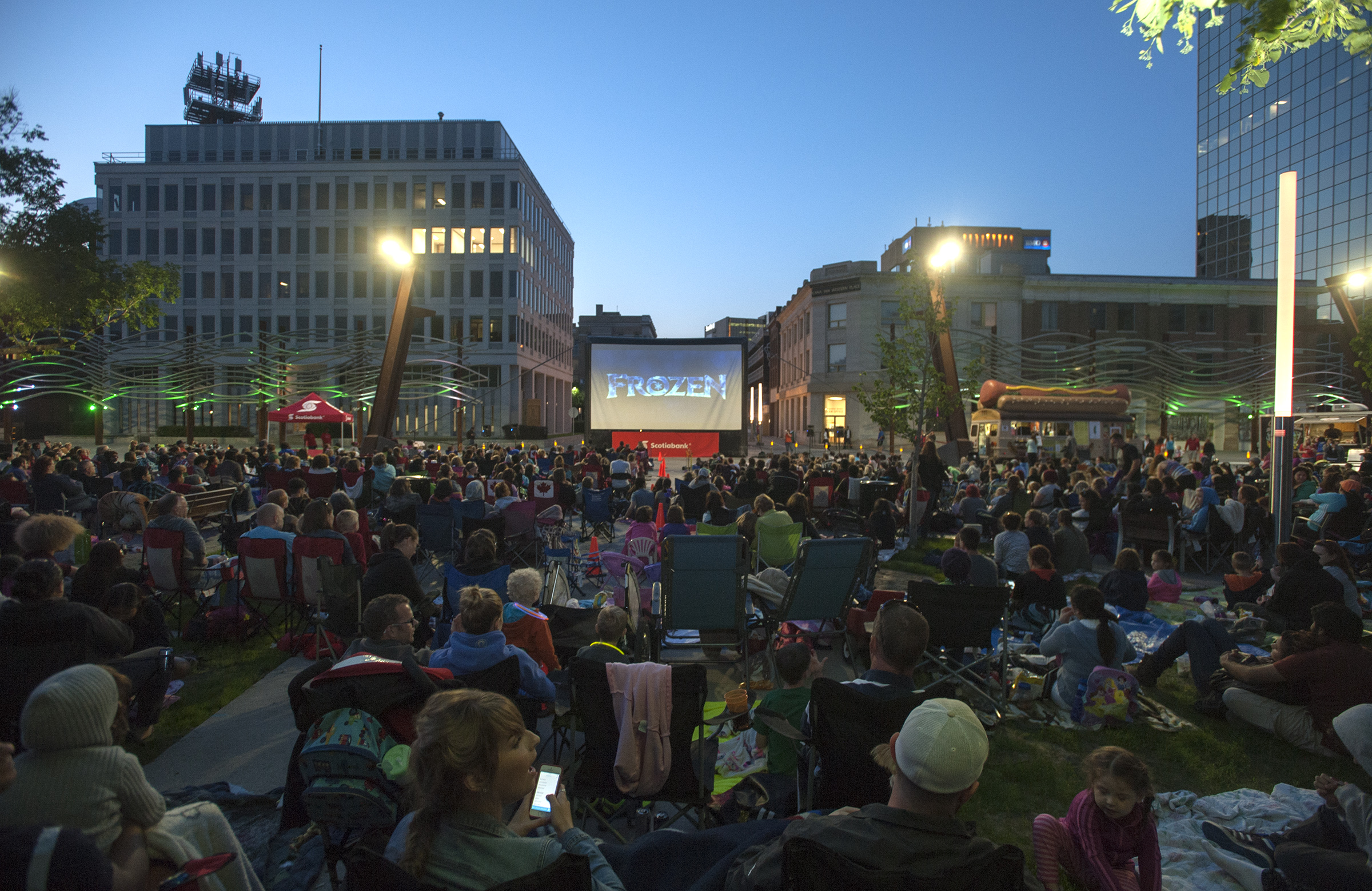 Scotiabank free outdoor movie event in Victoria Park.