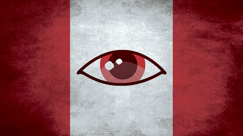 Canadian flag with spying eye - illustration by Paul Klassen