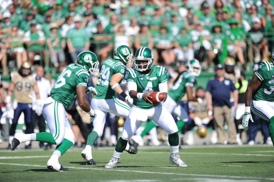 Game action from Labour Day 2014 where the Riders prevailed 35-30.