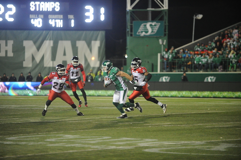 Game action from Oct. 3 when the Stamps best the Riders 31-24