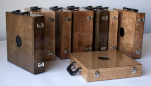 Marla Hlady, A Case for Sound, 2009 (ongoing), custom fabricate wood boxes, hardware, mp3 players, amplified speakers, sound, AAA batteries, motion switches. Commissioned by Artengine. Photo courtesy of the artist.