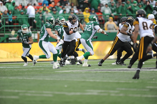 Game action from June 29, 2014 when the Riders prevailed over Hamilton 31-10