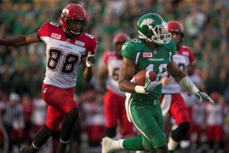 Action from the June 19 preseason game between the Riders and Stamps at Mosaic Stadium