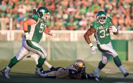 Game action from June 27, when the Bombers vanquished the Riders 30-26